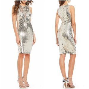 NWT Gianni Bini Alexis nude silver sequin dress